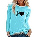 TUDUZ Camisas Mujer Manga Larga Blusas Impresión Tops Cuello Redondo Camisetas (Cielo Azul .f, S)