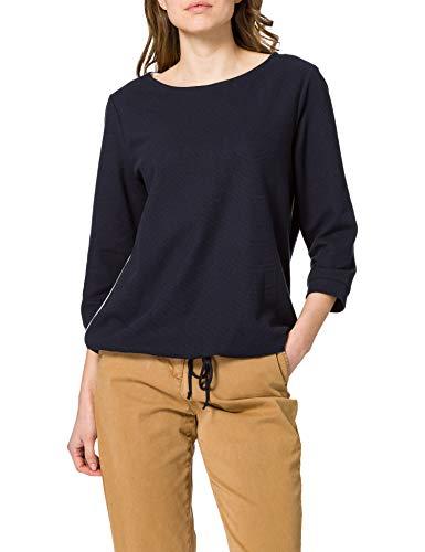 TOM TAILOR Damen Structure Longsleeve T-Shirt, 10668-Sky Captain Blue, XS