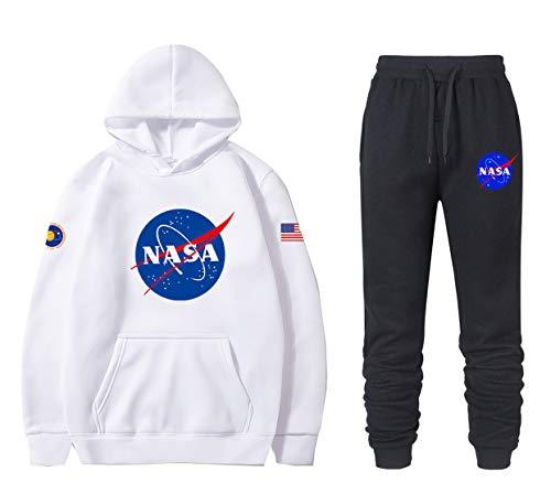 ATHIHOOD Unisex NASA Druck Jogginganzug Trainingsanzug Sportanzug Jungen Herren Tracksuit Hoodie Pullover + Sporthose XS-XXL (Weiß-h,M)