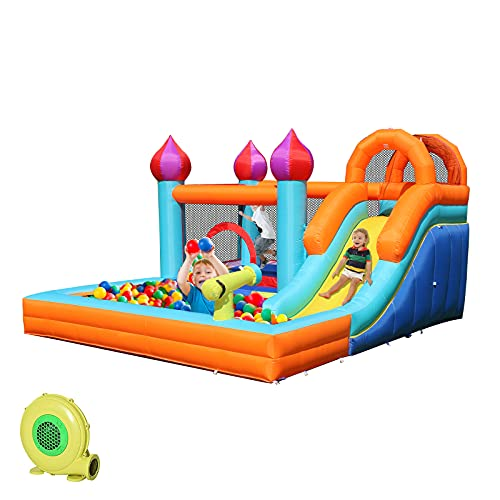 HIJOFUN Inflatable Water Slide, Kids Bounce House for Backyard, Blow up Water Park for Outdoor Party with Blower, Water Cannon