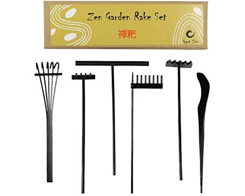 Mini Zen Garten Harken, schwarz, Bambus Zen Garten Zubehör, Sandkasten, Sandspiel Therapie Werkzeug, fördert Gelassenheit und spirituellen Frieden durch Zen Meditation.