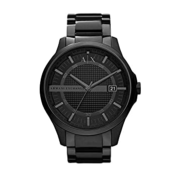 Armani Exchange Men s AX2104 Ion Plated Stainless Steel Analog-Quartz Watch with Stainless-Steel Strap Black 22  Model
