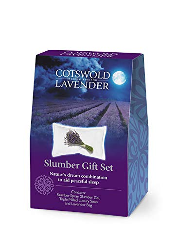 Cotswold Lavender English Lavender Mini Slumber Gift Set Contains Slumber Spray 10ml/0.34floz, Slumber Gel 20g/0.71oz, Triple Milled Luxury Soap 25g/0.88oz & Lavender Organza Bag