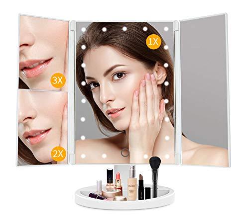 JAMIEWIN 3X 2X 1x Espejo de Maquillaje de Aumento con Luces Espejo de Tocador LED Regulable Grande Espejo Cosmético de Aumento Uluminado - Blanco