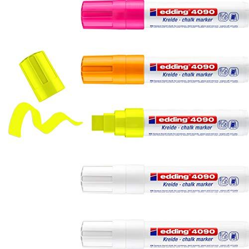 edding 4090 - Kreide-Marker - weiß & neon - Keilspitze 4-15 mm breit - 5er Set - Kreidestift (feucht abwischbar) für Tafel, Fenster, Glas, Spiegel, Whiteboard. Schreiben, Zeichnen, Handlettering