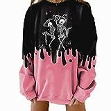 Moda para Mujer Talla Grande Manga Larga Hit Color Calavera Estampado Casual algodón suéter suéter de Navidad