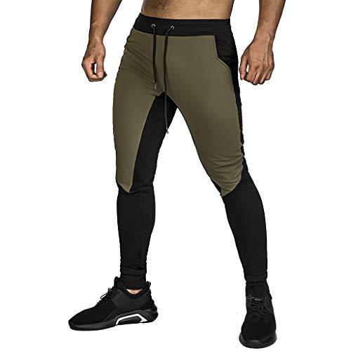 Winkey - Pantalones de chándal para hombre, estilo informal, holgados, pantalones de deporte para fitness, entrenamiento o running verde militar M