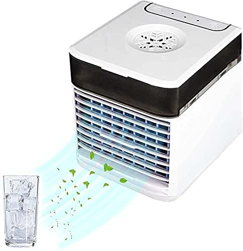 YANRU Ventilatore con Acqua - 7 Luci Colorate Raffrescatore Evaporativo Portatile - Protezione Ambientale Refrigeratore d'Aria, per Casa E Ufficio