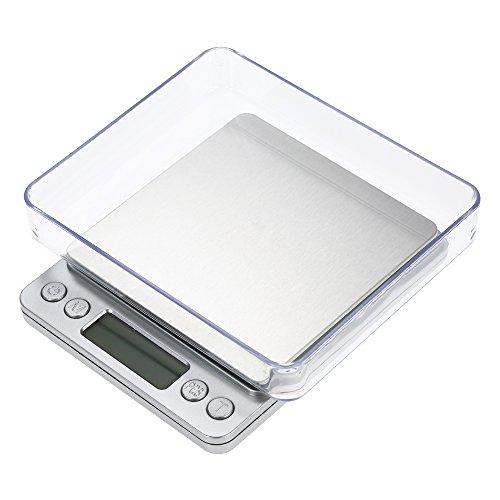 Balance de cuisine, Smart Weigh Balance de cuisine et de nourriture et bijoux avec plateau en acier inoxydable, avec 2 plateaux, 6 unités pour convertir, précision 500/0,01 g