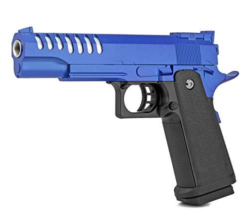 Softair Gun Airsoft Pistole + Munition   Cadofe V17-Blue. Profi Vollmetall   22cm. Inkl. Magazin & 0,5 Joule