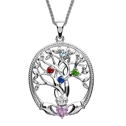 Customizable Irish Family Claddagh Tree of Life Birthstone Mother and 4 Children Pendant with Chain SP2247-4