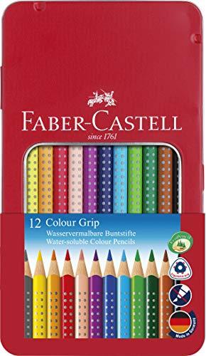 Faber-Castell 112413 Crayons de couleur Colour GRIP, boîte métal de 12