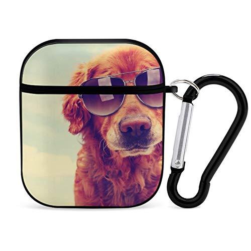 Funda para Airpod, color negro, gafas de sol de perro Retriever portátil y a prueba de golpes, accesorios para Airpods 2 y 1 con llavero