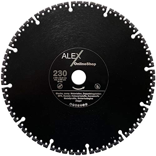 Premium speciale diamantdoorslijpschijf 125 mm - 350 mm geschikt voor staal, ijzer, gietijzer, GVK, veiligheidsglas, rubber, vloerplanken, aluminium enz, Ø 230mm x 22,23mm