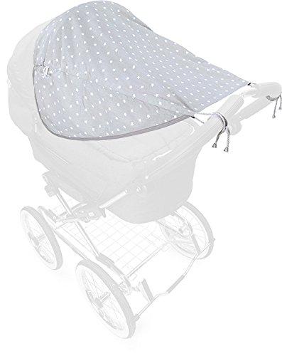 Priebes Sonnensegel Johanna UV Schutz 50+ | Sonnendach mit Seitenschutz | Universal Sonnenschutz | Sonnensegel für Kinderwagen & Buggy, Design:stars grau