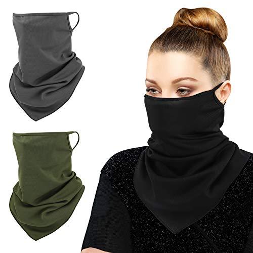 MoKo Scarf Mask Bandana with Ear Loops 3 Pack, Neck Gaiter Balaclava UV Sun Protection Face Mask for Dust Wind Outdoors Motorcycle Cycle Bandana Headband for Women Men, Army Green & Black & Dark Gray