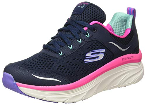 Skechers Damen D'LUX Walker-Infinite Motion Sneaker, Marineblaues und silberfarbenes Leder/pinkes Netz/weißer Rand, 39 EU