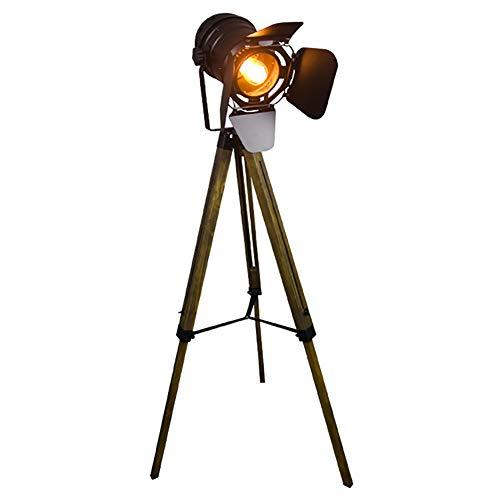 YXZQ E27 Base Floor Lamp, Tripod Floor Lamp, Industrial Style Vintage Spotlight Reading Lamp w/Wood Metal Legs Versatile Use For Living Room Bedroom