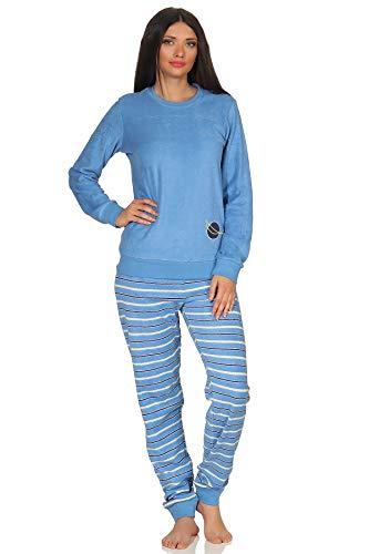RELAX by Normann Damen Frottee Pyjama Langarm mit Bündchen, Hose gestreift, Oberteil unifarben mit Motiv, Farbe:hellblau, Größe:40/42