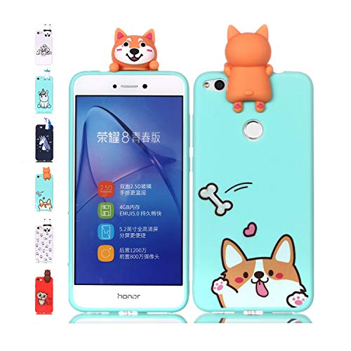 Funda Huawei P8 Lite 2017 Corgi Verde Claro Transparente Squishy Kawaii Juguete Toy Animal Silicona TPU Clear Transparente Gel Bumper Shell Back Cover Inquebrantable Carcasa Cute para Chicas