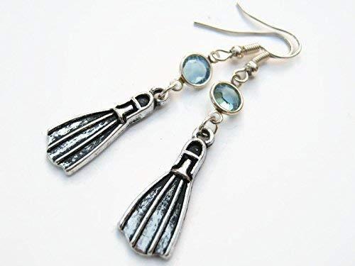 Scuba Fin Birthstone Earrings, Personalized Nautical Earrings, Diver Earrings, Scuba Dive Earrings, Handmade