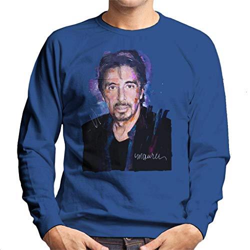 Vintro Al Pacino Goatee Herren Sweatshirt Original Portrait von Sidney Maurer professionell bedruckt Gr. X-Large, königsblau