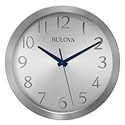 Bulova C4844 Winston Wall Clock, Pack of 1, Silver