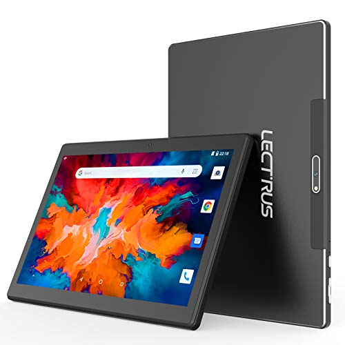 """Lectrus Android Tablet 10 inch, Android 10.0, 2GB+32GB, Quad-Core Tablets 10.1"""", Google GMS Certified, IPS HD Display, Dual Camera & Speaker, WiFi, FM, Bluetooth, USB Type C, 6000mAh, Black"""