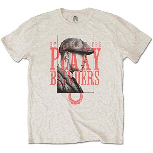 Peaky Blinders Men's tee: Red Logo Tommy Camiseta, Beige (Neutral Neutral), Medium para Hombre