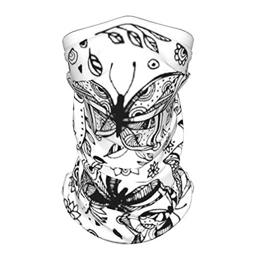 Amazing Fly Mariposas Flores Plantas Puntos Animal Verano Seda De Hielo Transpirable Mascarilla Cuello Polaina Bufanda Bandanas para Pesca,Senderismo,Correr,Motocicleta y Uso Diario