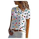 Camiseta de verano para mujer, parte superior de manga corta, estilo informal, con cuello en V y botones en la parte inferior, camisa, blusa, mujer, adolescente, niña, túnica, de gran tamaño. A02 XL
