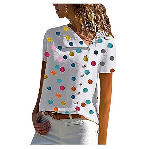 Camiseta de Mujer Verano Suelta Moda Casual Camisetas De Talla Grande Estampado Blusa Superior Tops Blusas con Cuello Redondo Manga Corta Túnica T Shirts