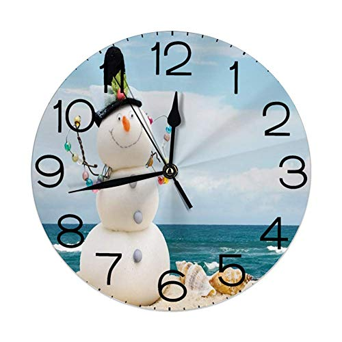 Tzshak Orologio da Parete Rotondo Decorativo per la casa, Pupazzo di Neve, Vacanze Invernali Vacanze Pupazzo di Neve con Conchiglie Seduto su Sandy Beach Coastal, Multicolor