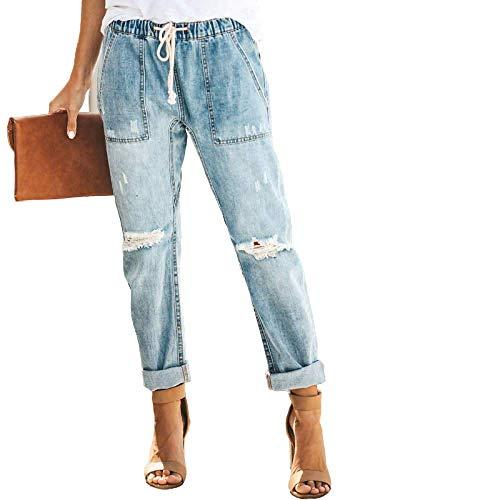 Primavera y Verano Pantalones Rectos Casuales Señoras Cintura elástica Cordón Personalidad Ripped Elastic Waist Jeans