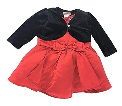 Nanette Lepore Girls Special Occasion Dress (6 Month, Red Dress/Black Jacket)