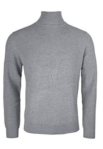 Herren Rollkragen Pullover aus Kaschmir und Merinowolle - Slim Fit, (Hellgrau) XL