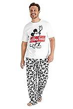 Disney Pijama Hombre, Mickey Mouse Pijamas Hombre de Algodon, Camiseta Manga Corta y Pantalon Largo, Regalos para Hombre y Adolescente Talla S-3XL (Blanco/Gris, XXL)