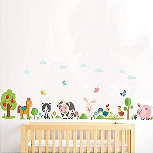 Animales encantadores Pegatinas de la pared de la granja para la decoración del hogar Habitación para niños Habitación Dormitorio Vaca Cerdo Pig Mural Art DIY PVC Linkals 38 * 108cm