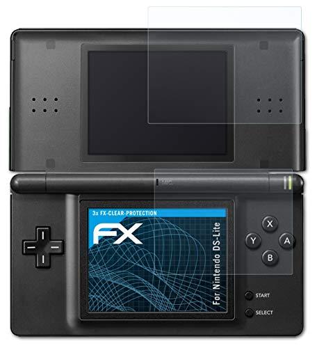 atFoliX Schutzfolie kompatibel mit Nintendo DS-Lite Folie, ultraklare FX Displayschutzfolie (3er Set)