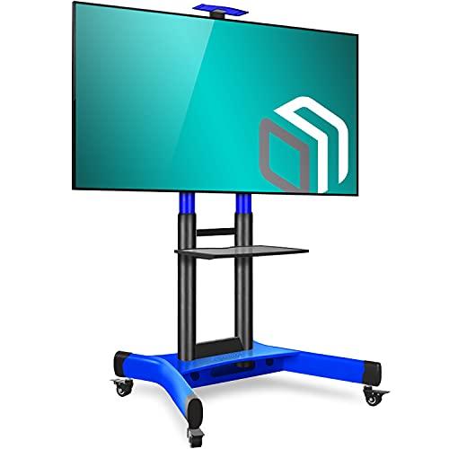 ONKRON Soporte de TV de suelo para LCD LED Plasma de 40 – 70 pulgadas, carro de TV universal con ruedas y soporte para TV de hasta 45,5 kg, mueble para TV con VESA máx. 600 x 400 mm, TS1551-BLUE
