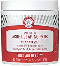 First Aid Beauty Skin Rescue Acne Clearing Pads with White Clay: Salicylic Acid Acne Treatment to Prevent Breakouts and Minimize Pores. Vegan Acne Treatment with Tea Tree Oil (60 Pads)