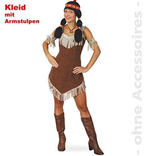 Indianerin Sisika Damen Kleid mit Armstulpen Gr 36