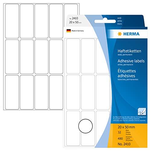 HERMA 2410 wielofunkcyjnych etykiet małe (20 x 50 mm, 32 arkusze, papier, matowy), samoprzylepne, stale przylegające etykiety domowe do ręcznego opisania, 480 etykiet samoprzylepnych, białe