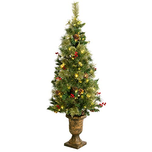 AsterOutdoor Pre-lit Christmas Tree 4ft Artificial Potted Fir with Lights Holly Berries Pine Cones Stands for Indoor Porch Table, Xmas Holiday Decoration, Easy Assembly