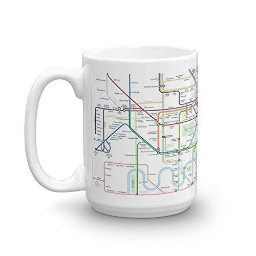 Mapa del metro de Londres. Tazas de café de cerámica de 11 oz con asa en forma de C, cómodas de sostener. 11 onzasTazas de café clásicas, asa en C y construcción de cerámica