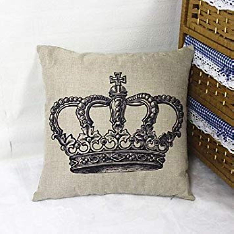 Black Crown Square Linen Decorative Throw Pillow Case Cushion Cover  05232272