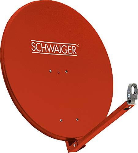 SCHWAIGER -234- Antenna parabolica   antenna satellitare con braccio di supporto LNB e supporto a palo   antenna parabolica in alluminio   rosso mattone   74,5 x 84,5 cm