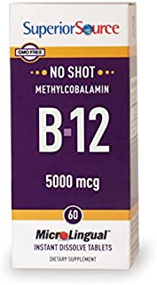 Superior Source No Shot Methylcobalamin B12 Multivitamins, 5000mcg, 60 Count ( Pack May Vary )