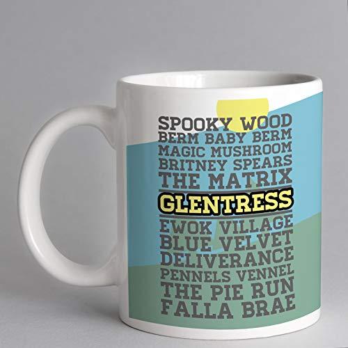 Lplpol Klassische Glentress Trail Name Tasse – MTB Tasse – Mountainbike Tasse – 7 Stanes Tasse – Schottland MTB 325 ml