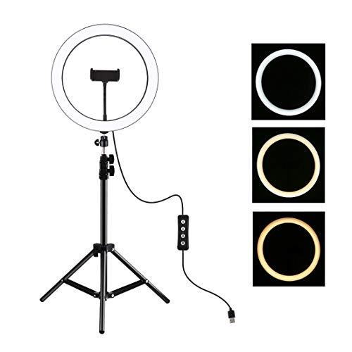 LMIITAM Anillo de luz LED de 11,8 pulgadas para selfie, con trípode de 110 cm, ajustable, para smartphone, cámara, retrato de YouTube, grabación de vídeo